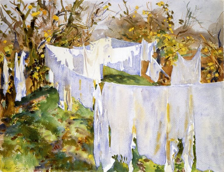 "La Bianchera (The Laundry) ~ John Singer Sargent   |  Outside the open window  /  The morning air is all awash with angels.  /  ""Oh, let there be nothing on earth but laundry,  /  Nothing but rosy hands in the rising steam  /  And clear dances done in the sight of heaven.""  ~ Richard Wilbur"