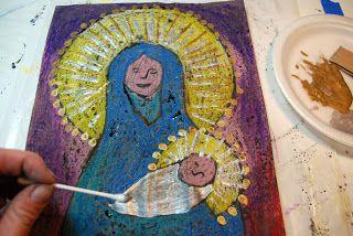 Pastel Resist Madonna - Art Project