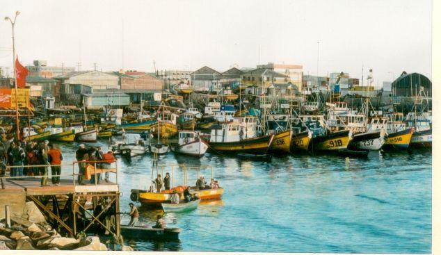 Puerto de San Antonio, Chile en Primavera - Acuarela 70 x 42 cms VENDIDO
