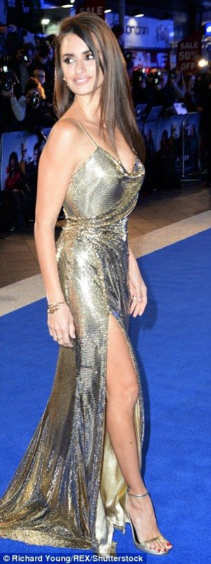 Victoria Beckham, Cheryl Fernandez-Versini, singer Katherine Jenkins and Catherine Zeta-Jones have all stepped out in a pair of vertiginous strappy gold sandals that add inches to their height. Pictured: Penelope Cruz