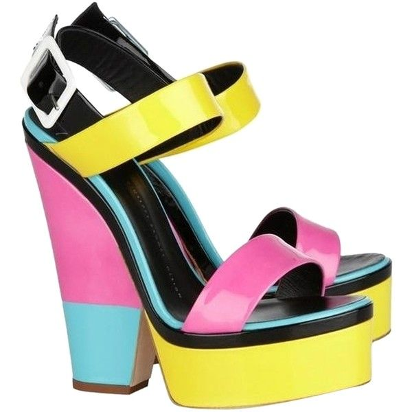 Pre-owned Giuseppe Zanotti Patent Leather Colorblock Sandal Multi... ($276) ❤ liked on Polyvore