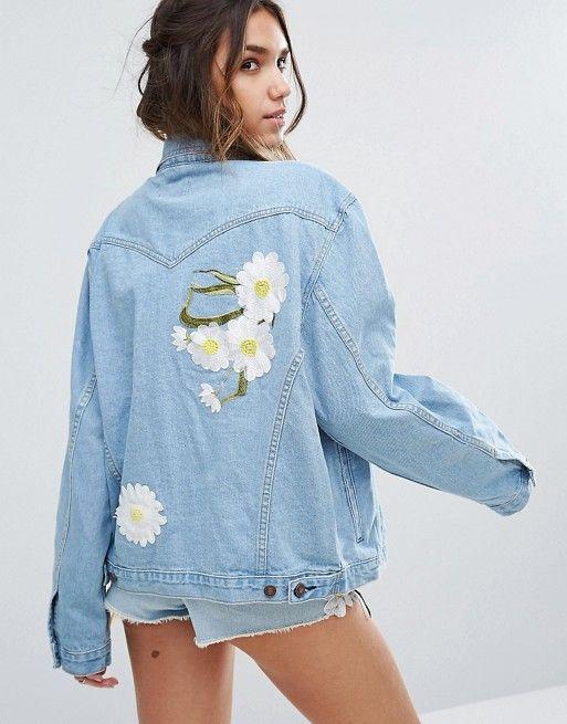 Kiss The Sky Boyfriend Denim Jacket With Daisy Embroidery