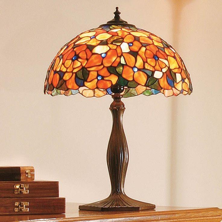 Lampada Tiffany da Tavolo o da Comodino con Fiori Rossi e Arancioni