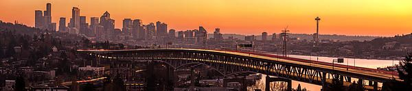 Seattle sunset panorama across the Interstate 5 bridge.  photography by www.mikereidphotography.com
