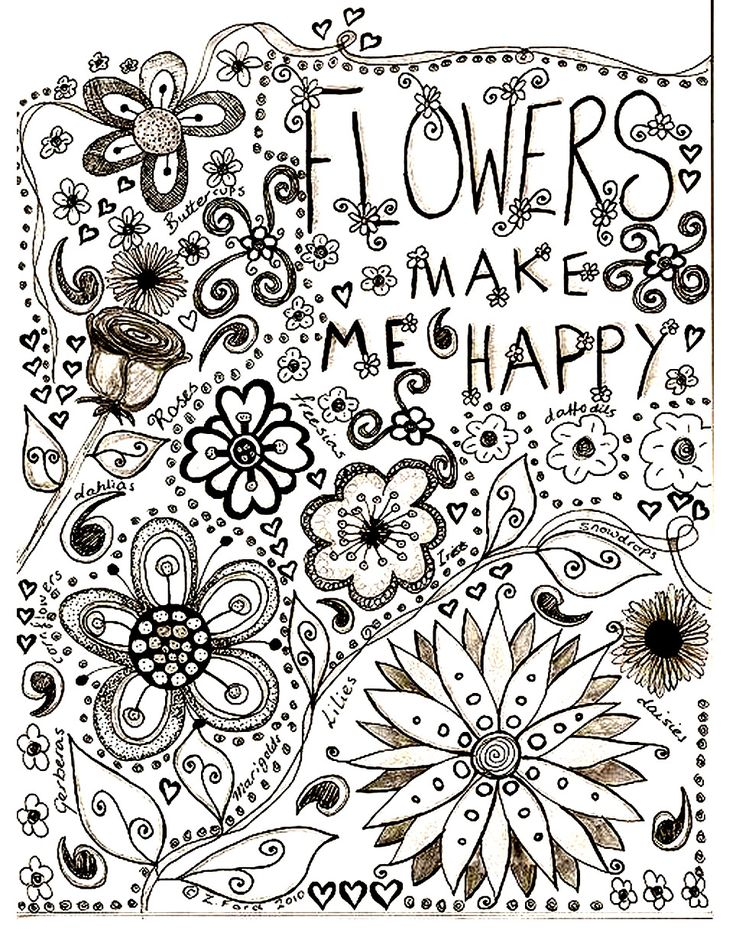 Free Coloring Page Adult Flowers Drawing Make Me Happy
