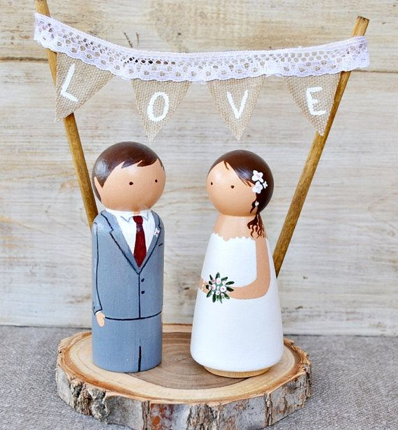 Personalized Wooden Peg Cake Topper  Original wedding cake topper. Wodden peg dolls hand painted. These can go with or without pedestal. The pedestal