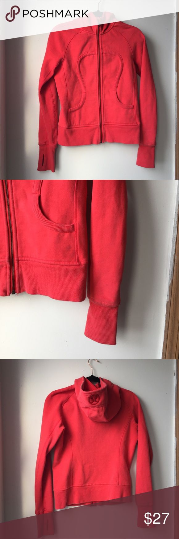 Lululemon red zip up hoodie xs Pre-loved Normal everyday wear, no huge markings but not in new condition. Still has a lot of life! XS  Zip up hoodie   No trades or tryon lululemon athletica Sweaters