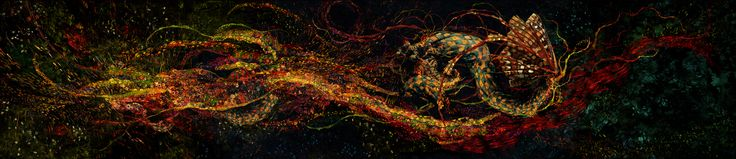 Panorama remix of Vincent Van Gogh and Gustav Klimt paintings.