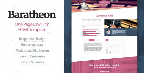 Baratheon - One Page Law Firm HTML Template - Business Corporate