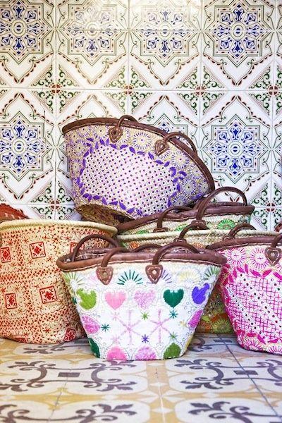 Moroccan Berber Embroidered Baskets Image via: http://estherjostmeijer.nl/?p=home