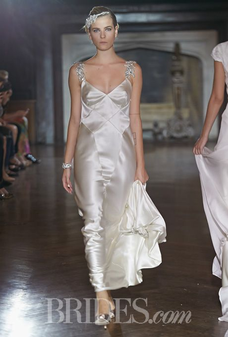 """I just love the bling in this with the color of silk.  Johanna Johnson - Fall 2014. """"Wilder"""" sleeveless silk sheath wedding dress with a low v-neckline and beaded straps, Johanna Johnson"""