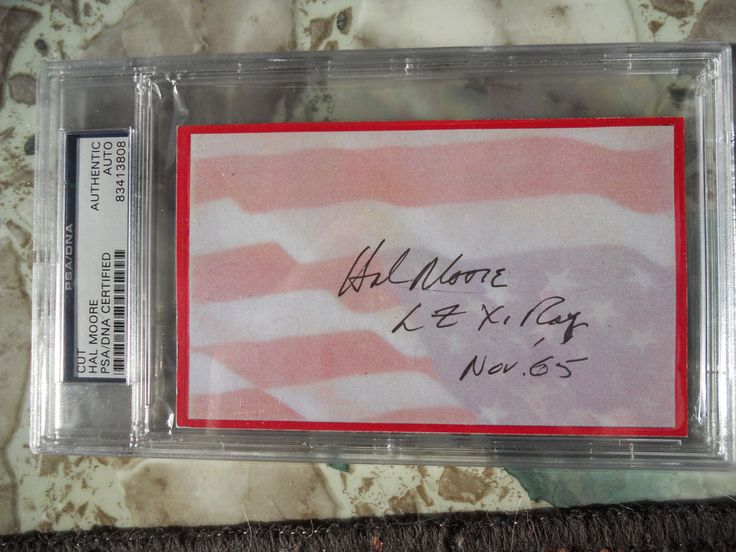 HAL MOORE 1/7 CAVALRY AUTOGRAPH/SIGNED  PLEIKU LZ XRAY CUSTOM INDEX CARD-PSA