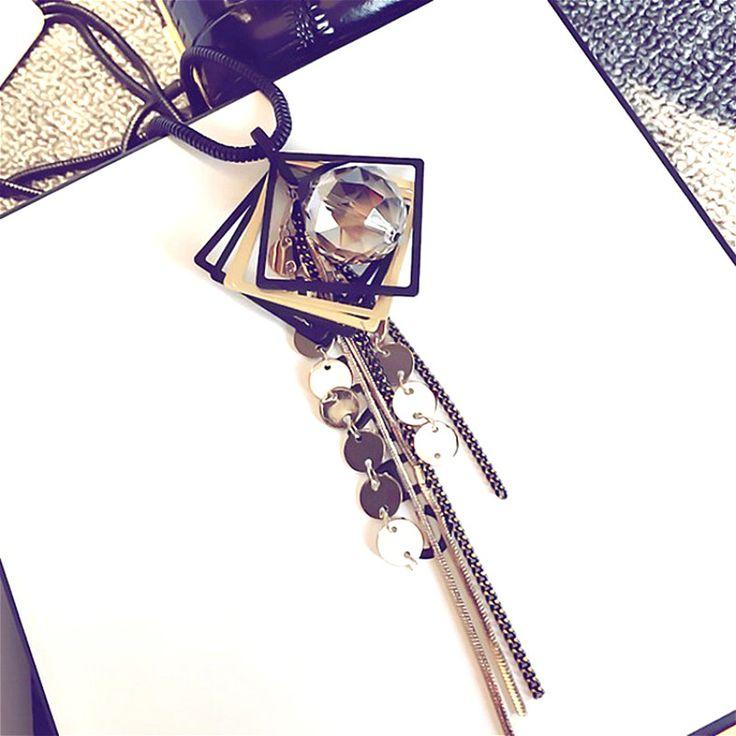 Zwart Geometrische Crystal Bal Kwastje Lange Ketting Vrouwen Bijoux Mode Trui Sieraden Hangers Leuke Gift in              New trendy leather tassel long necklaces & pendants gift fa van hanger halskettingen op AliExpress.com | Alibaba Groep