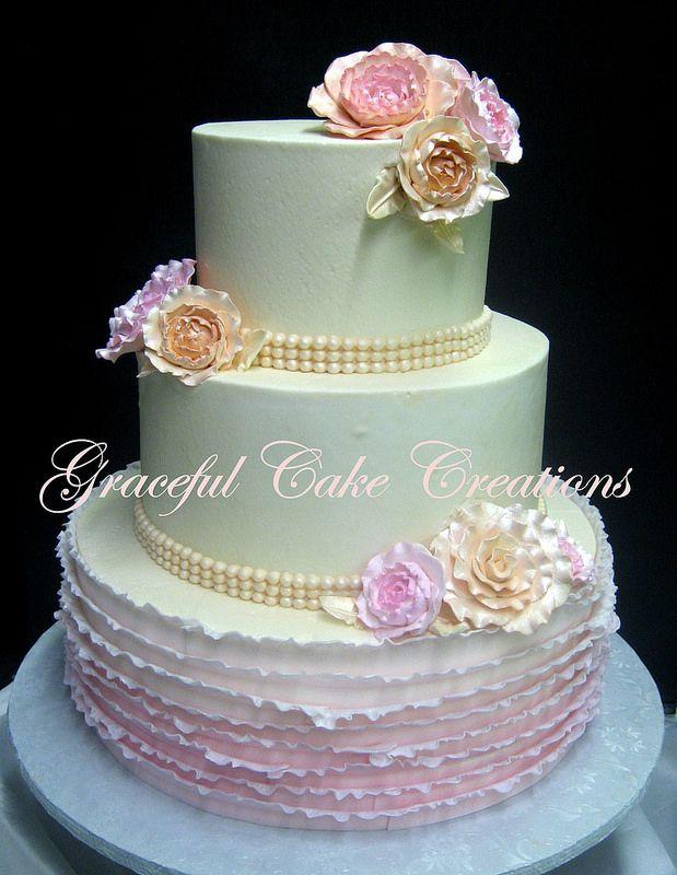 Elegant Vintage Ivory And Blush Pink Wedding Cake With Blush Pink Ombre Ruffl