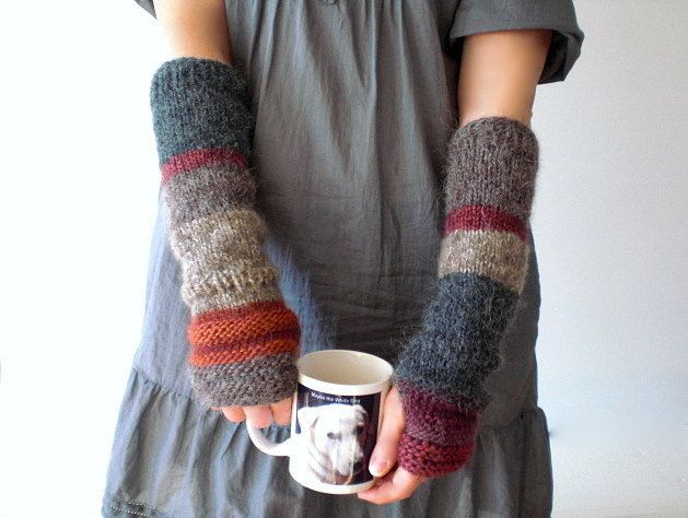 Hand knit arm warmers / urban rustic / cottage chic / earth colors / country / winter warm / multicolor / cottage style / for her