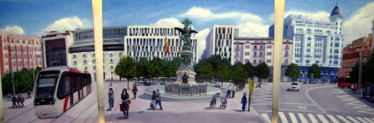 Óleo 127 x 46 de Javier Úcar - Tríptico Plaza de España - Zaragoza