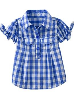 checks + blue= love: Plaid Ties Sleeve, Tiesleev Tops, Plaid Dress, Kids Fashion, Girls Shirts, Baby Girls, Old Navy, Plaid Tiesleev, Ties Sleeve Tops