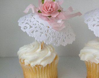 Cumpleaños decoración Shabby Chic Cake Bunting y Cupcake