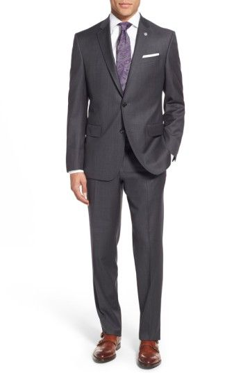 Free shipping and returns on Ted Baker London 'Jay' Trim Fit Solid Wool Suit at Nordstrom.com. Well-textured Italian wool enriches a handsome suit featuring flat-front trousers paired with a two-button, notch-lapel jacket.