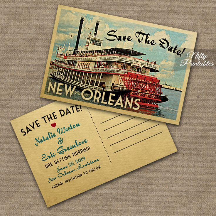 New Orleans Save The Date Postcard - Vintage Travel New Orleans Louisiana Save The Date Cards - Printable NOLA Wedding Save The Date VTW by NiftyPrintables on Etsy https://www.etsy.com/listing/216582992/new-orleans-save-the-date-postcard