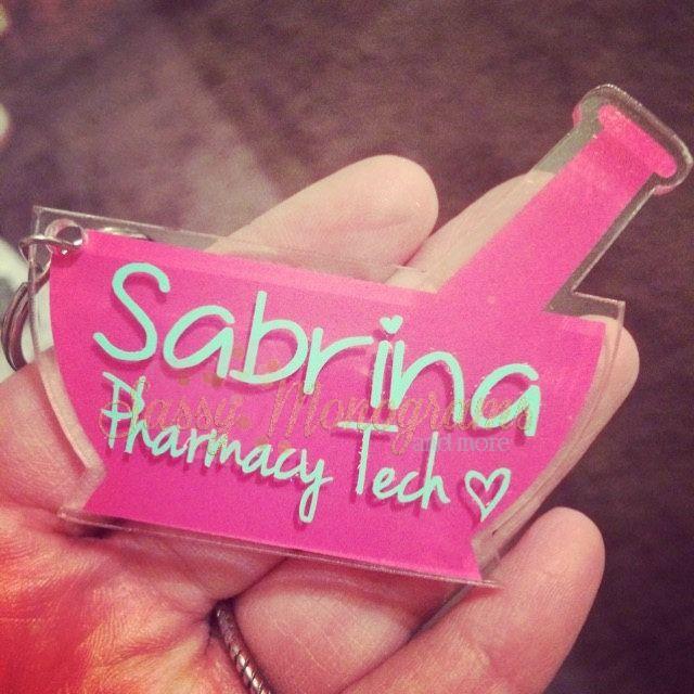 Pharmacy Mortar and Pestle Personalized Monogram Acrylic Keychain ~ Pharmacist ~ Pharmacy Tech