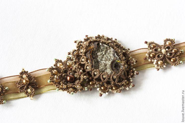 Кружевной Браслет Антик, с камнем, ручной работы фриволите анкарс - коричневый