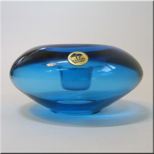 Ekenas Glasbruk Swedish labelled blue glass candlestick holder.