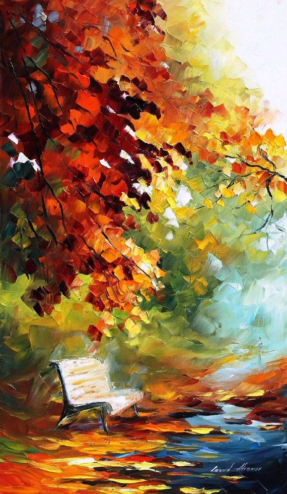 "Aura Of October — PALETTE KNIFE Landscape Autumn Alley Modern Art Oil Painting On Canvas By Leonid Afremov - Size: 15"" x 25"" (37 cm x 64 cm)"