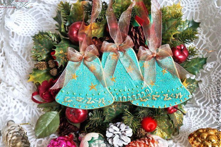 Купить Новогоднее украшение Колокольчики. Винтаж. Ванильный шоколад. - колокольчик ручной работы, новый год 2016