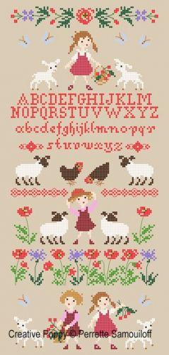 Perrette Samouiloff - Lamb in Poppy Field (cross stitch chart)