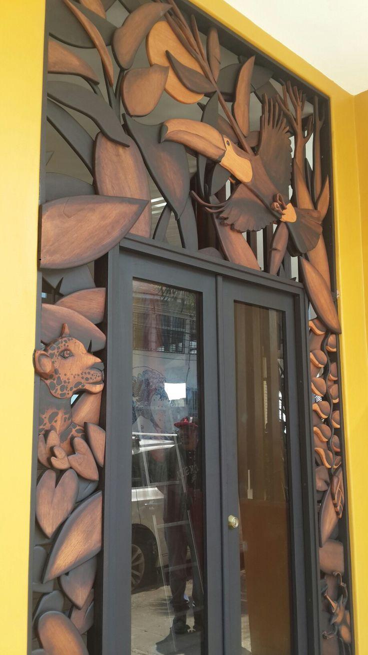 Artistic wooden main door.  Built & designed by @JuanJoseAlfaro