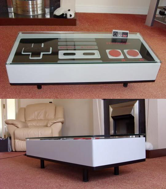 Final frame nes controller coffee table caves ants and for Man cave coffee table ideas