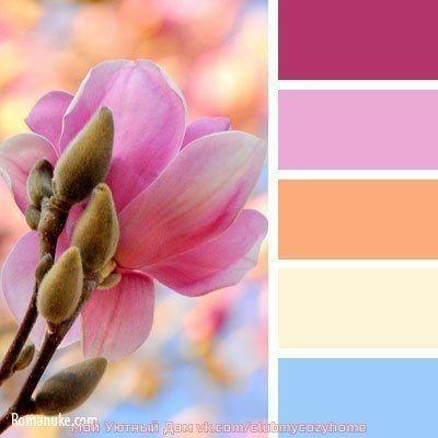 Pink, orange, yellow, blue