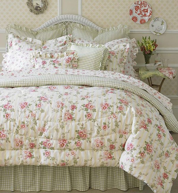 Laura Ashley Yorkshire Rose 4 Piece Comforter Set King
