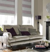 Roman blinds are ideal for combining beauty with practicality in your living room. Available with standard or black out lining for extra light control, roman blinds are the modern alternative to curtains. Roman Blinds | Grey & Purple Roman Blinds Roman Blinds | Rimini Blinds