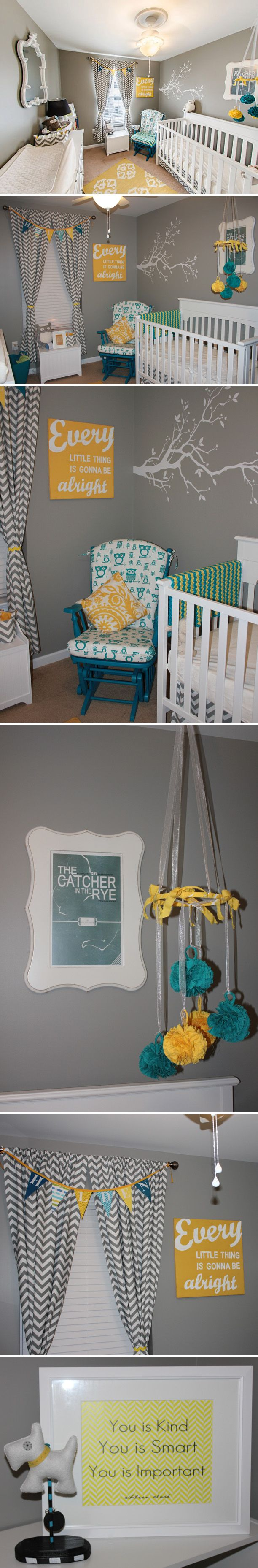 owl nursery, gender neutral nursery, gray nursery/grey nursery, literary nursery
