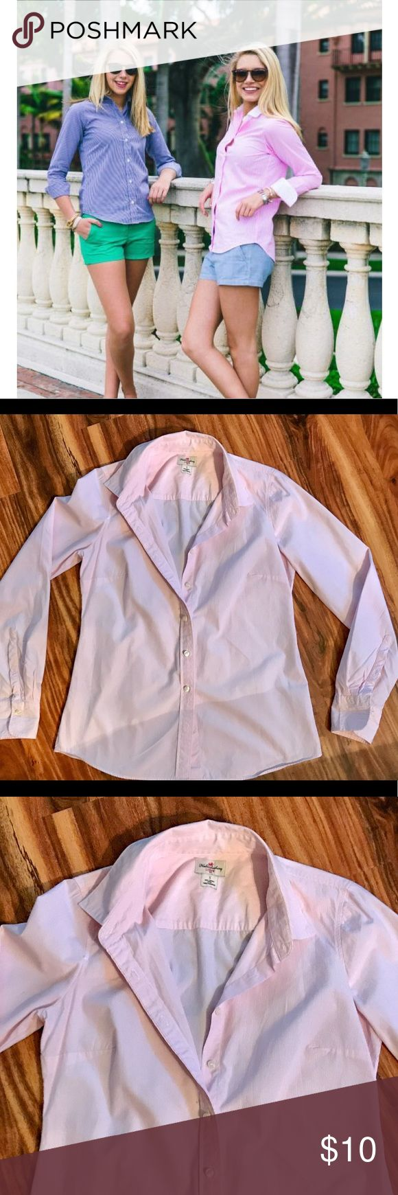 J CREW Oxford light pink & white stripped shirt. J CREW Women's Oxford shirt in a light pink and white stripped. Shirt is 100% cotton so does look best when ironed. Can be dressed up for work or dressed down with white shorts, cut offs or a boyfriend jean. Shirt is in perfect condition - no marks, stains and all buttons attached! Size Medium. J. Crew Tops Button Down Shirts