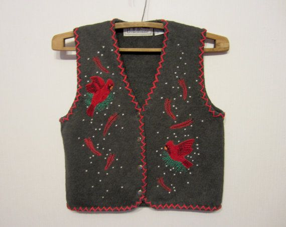 Gray Patterned Women Vest With Patches Romantic Small Waistcoat Red Birds