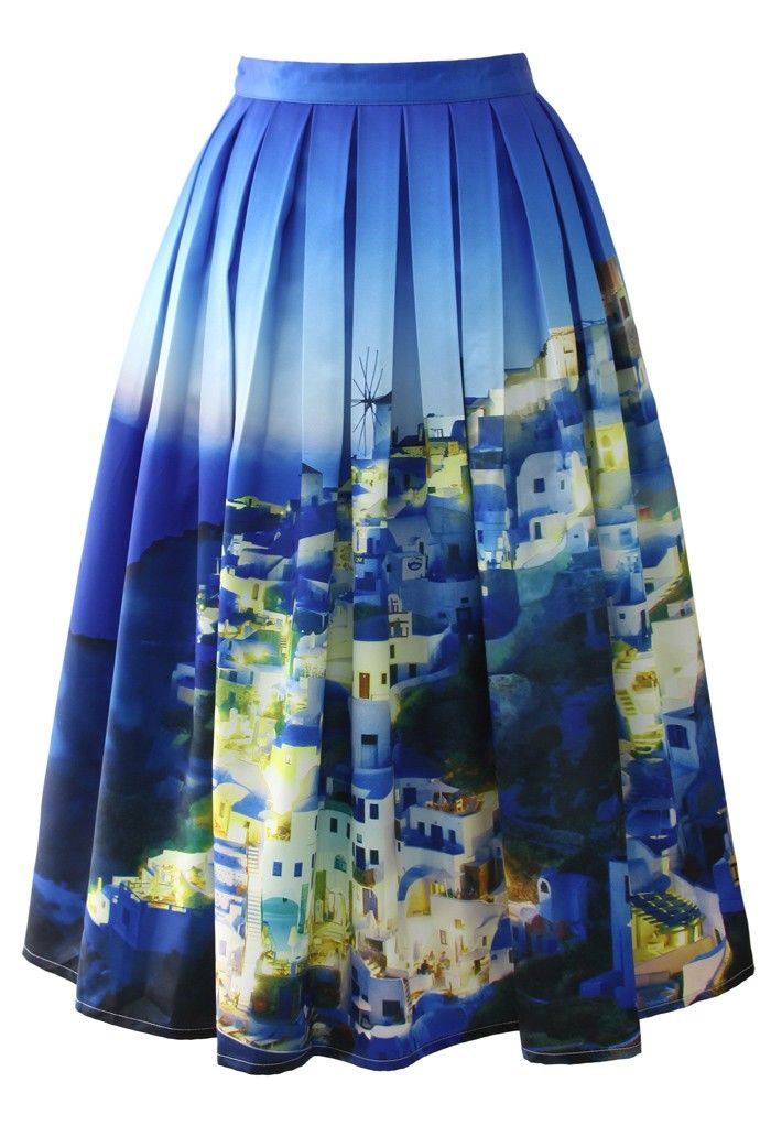 Any of the colorful print midi skirts from this site can choose :) Chicwish Santorini Print Pleated Midi Skirt