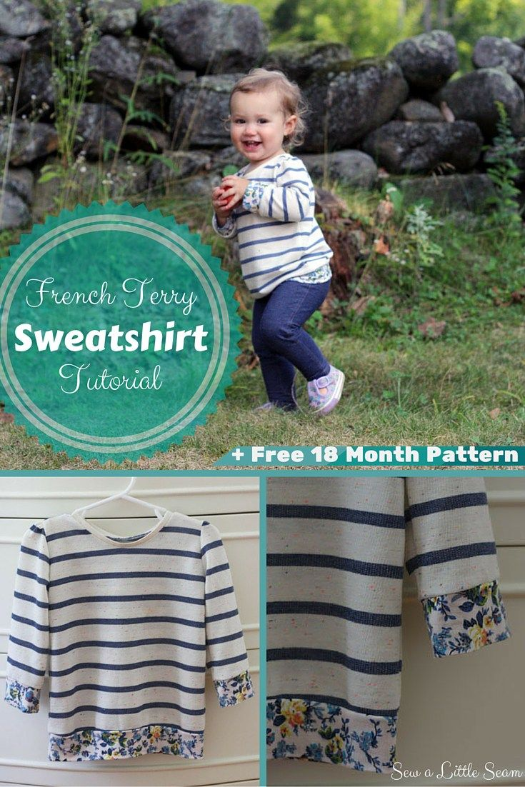 Franse Terry sweater Tutorial en gratis 18 maanden Pattern