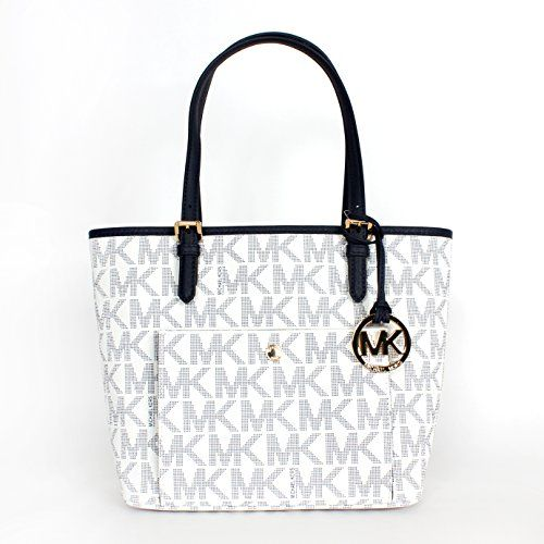 Michael Kors Jet Set Item Medium Snap Pocket Tote Navy/white - Handbag