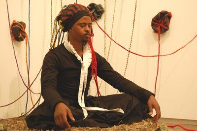 """South African artist Nicholas Hlobo performed """"Thoba, utsale umnxeba"""" at the Institute of Contemporary Art in conjunction with his exhibit at the Boston museum, 2008."""