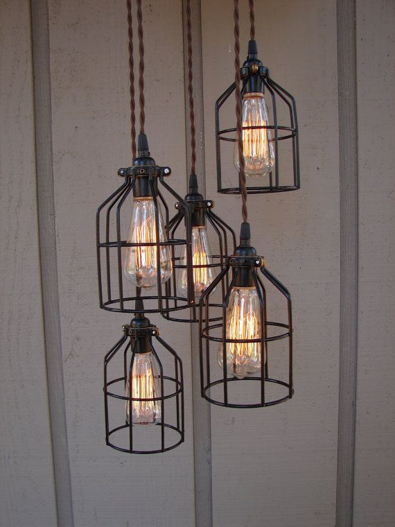 Reserved For Sarah 5 Light Industrial Bulb Cage Pendant