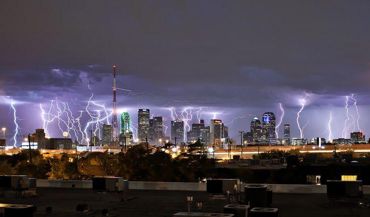 lightning hitting the entire city of Dallas