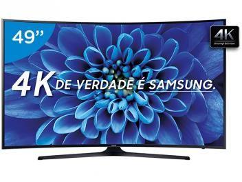 """Smart TV LED Curva 49"""" Samsung 4K Ultra HD - 49KU6300 Conversor Digital 3 HDMI 2 USB de R$ 4.999,00 POR  R$ 2.882,07"""