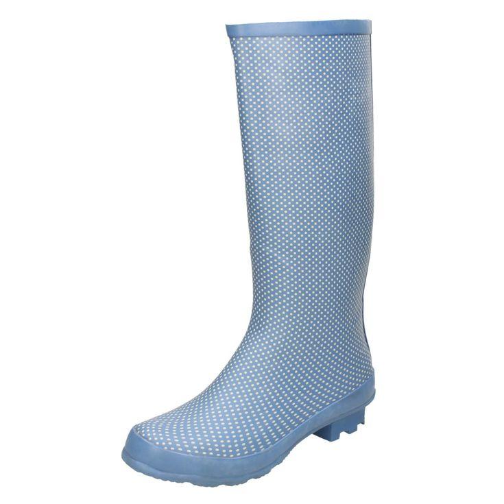 Ladies Spot On Blue/White Spotty Long Wellies/Wellingtons Uk Sizes 3-8 X1079