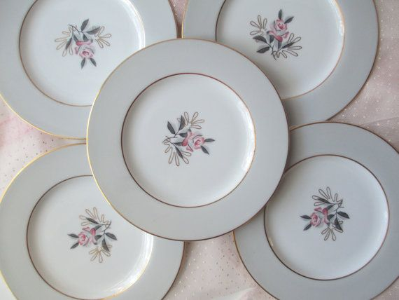 Vintage Noritake Lindley Pink Gray Floral Bread & by thechinagirl