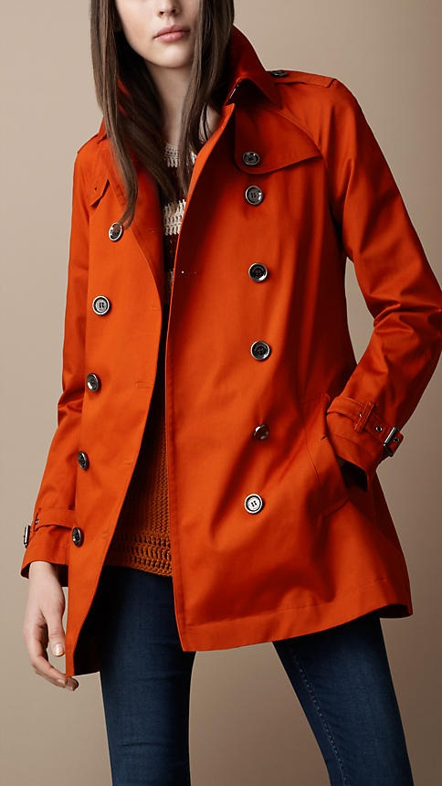This Burberry Brit Short Gabardine Trench Coat in Burnt Orange is a must-have for spring!