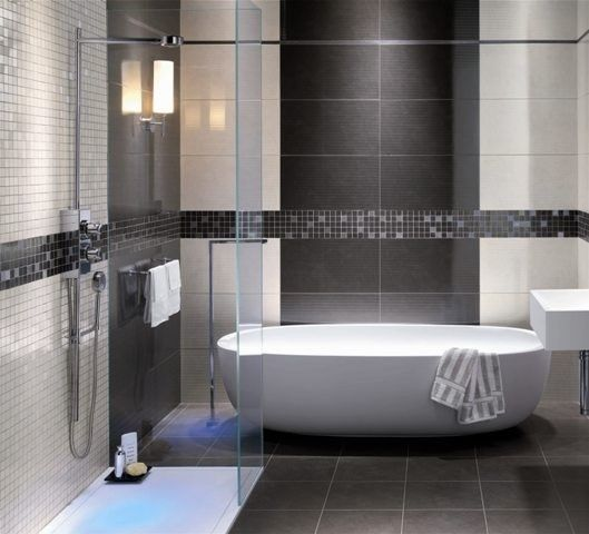 Grey shower tile images modern bathroom grey tile for Modern bathroom wall tile designs