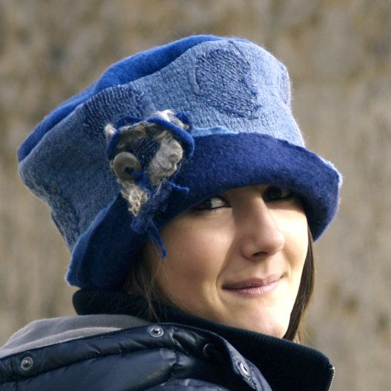 Blue felt  hat nuno felting  French Hat Etsy handmade felt hats unique hat wool fashion felt brooch Belle
